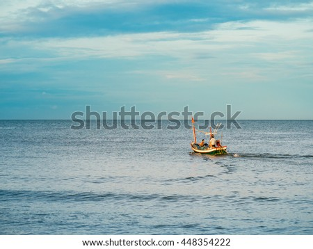 Beautiful landscape with fishing boats and sea. Sailing in clam sea.