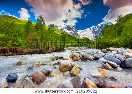 Beautiful landscape with mountain stream. Georgia, Svaneti. - stock photo