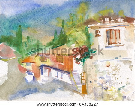 Beautiful landscape with old village houses. watercolor