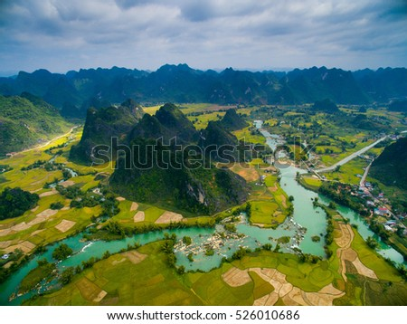 Beautiful landscape with rice field and mountain from drone in Cao Bang province, Vietnam