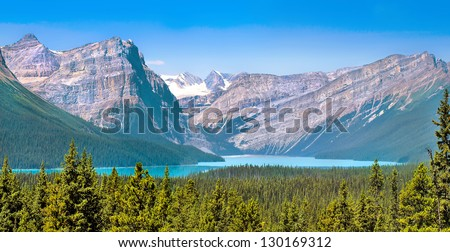 Beautiful landscape with Rocky Mountains and mountain lake in Alberta, Canada - stock photo