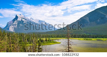 Beautiful landscape with Rocky Mountains in Jasper National Park, Alberta, Canada - stock photo