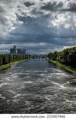 Beautiful landscape with storm clouds on the old historic Moscow Canal