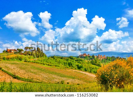 Beautiful landscape with the historic cities of San Gimignano and Certaldo in the background in Tuscany, Italy - stock photo
