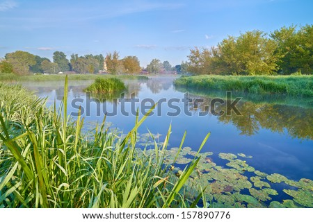 Beautiful landscape with The Narew River.  - stock photo