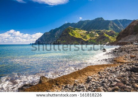 beautiful landscape with the ocean on Maderia island, from Faial village - stock photo