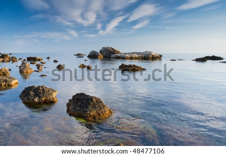 Beautiful landscape with the seaside - stock photo