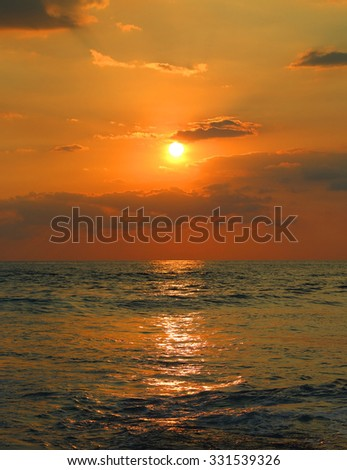 beautiful landscape with tropical sea sunset and waves - stock photo