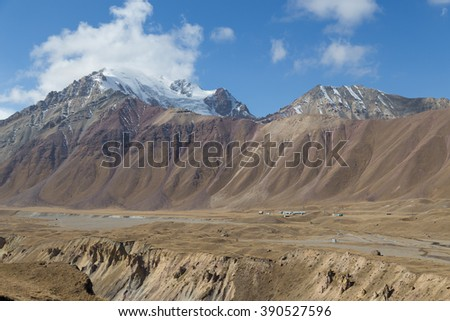 Beautiful landscapes in South Kyrgyzstan close to Sary-Mogul.