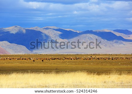 Beautiful landscapes of mountain and clouds with blue sky at Bayan-Ulgii Province in western Mongolia