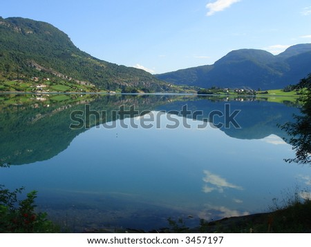 beautiful lanscapes from norwegian fjords  in the summer - europe travel - stock photo