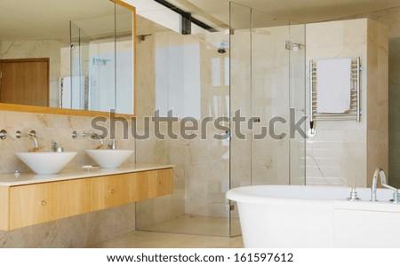 Beautiful large bathroom  - stock photo
