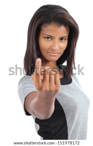 Beautiful latin american woman gesturing beckoning isolated on a white background - stock photo
