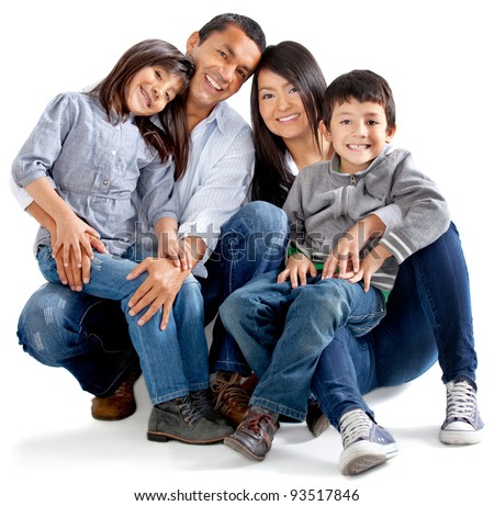 Beautiful latinamerican family - isolated over a white background - stock photo
