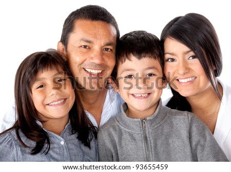 Beautiful latinamerican family smiling - isolated over a white background - stock photo
