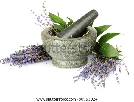 Beautiful lavender in a mortar isolated on white - stock photo
