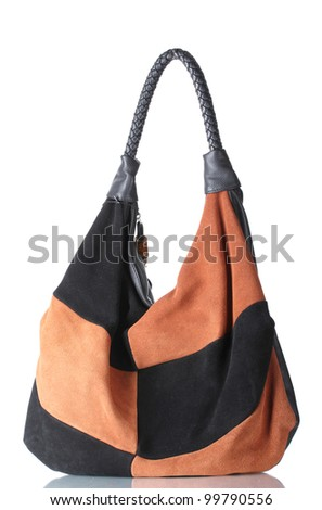 beautiful leather woman bag isolated on white - stock photo