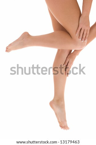 Beautiful legs and arms isolated on a white background