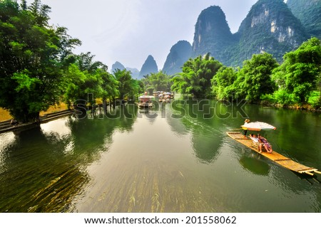 Beautiful Li river bamboo side Karst mountain landscape in Yangshuo Guilin, China - stock photo