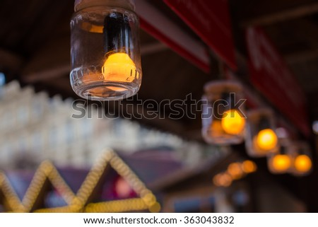 Beautiful lighting in the cafe of the lamps - stock photo