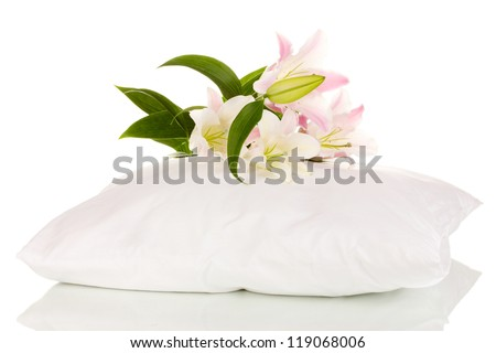 beautiful lily on pillow isolated on white