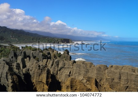 Beautiful limestone cliffs in Paparoa National Park, South Island, New Zealand - stock photo