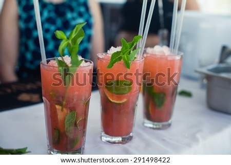 Beautiful line of different colored alcohol mojito cocktails with mint on a open air party, tequila, martini, vodka, and others on decorated catering bouquet table on open air event corporate party - stock photo