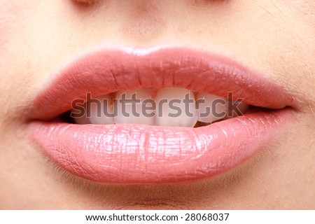 beautiful lips with make up close up