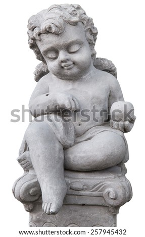 Beautiful little angel statue in garden on white background - stock photo