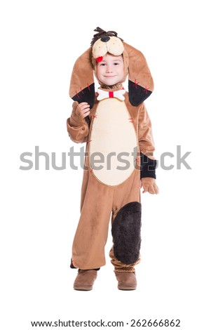 Beautiful little boy posing in a dog costume. Isolated on white - stock photo