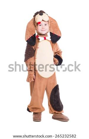 Beautiful little boy wearing like a dog. Isolated on white - stock photo