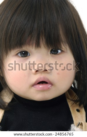 Beautiful little girl face on white
