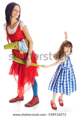 beautiful little girl hugging her mother in studio - isolated on white - stock photo