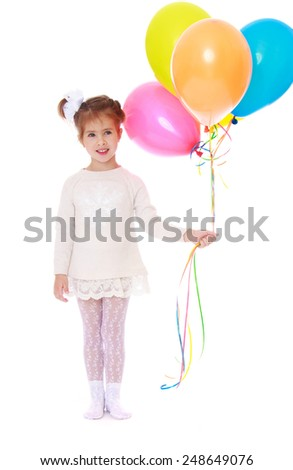 Beautiful little girl in a white dress holding a bunch of colorful balloons. Isolated on white background, Lotus Children's Center - stock photo