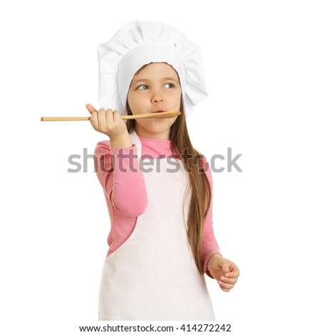 Beautiful little girl in chef uniform with wooden spoon isolated on white - stock photo