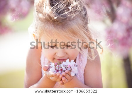 Beautiful little girl in Cherry Blossoms April Spring time - stock photo