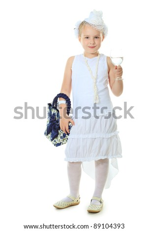 Beautiful little girl in princess dress. Isolated over white background.