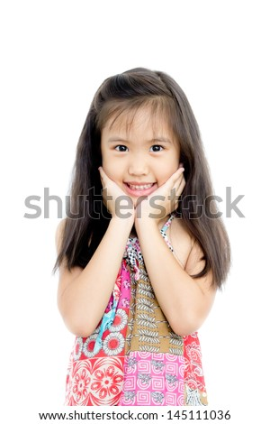 Beautiful little girl in summer dress - stock photo