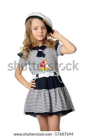 beautiful little girl in the marine dress - stock photo