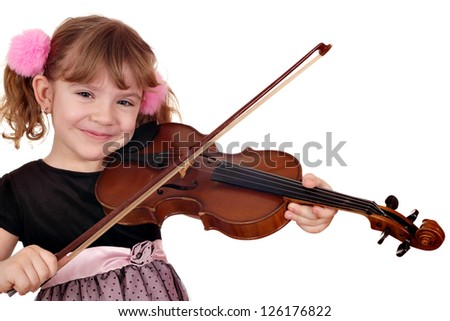 beautiful little girl play violin - stock photo