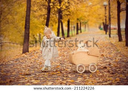 beautiful little girl rolls the stroller in autumn park - stock photo
