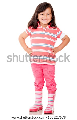 Beautiful little girl smiling - isolated over a white background