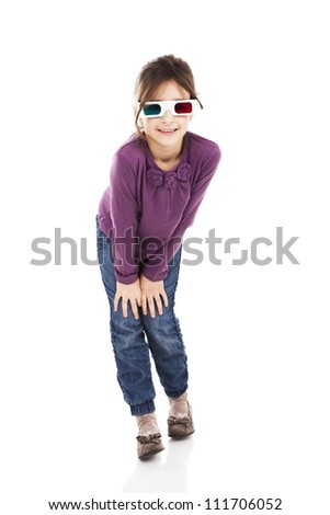 Beautiful little girl wearing 3d glasses and smiling, isolated over a white background - stock photo
