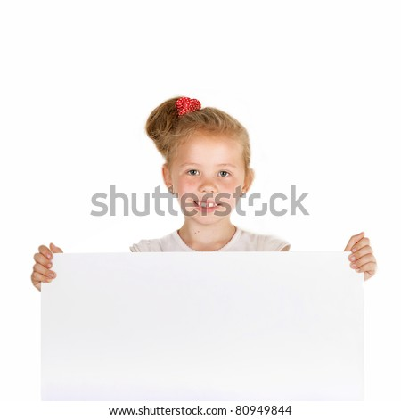 Beautiful Little Girl with a Blank for Advert (isolated)