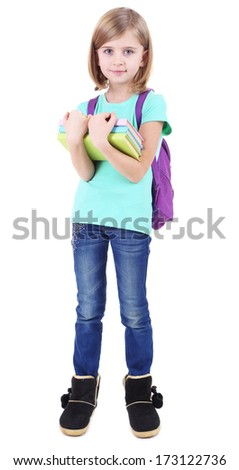 Beautiful little girl with backpack holding books isolated on white - stock photo