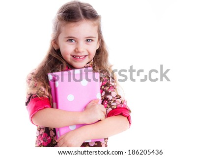 beautiful little girl with books, school, knowledge, learn, isolated on white background - stock photo