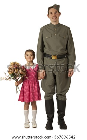 Beautiful little girl with bunch of flowers and Soviet soldier in uniform of World War II isolated on white background  - stock photo