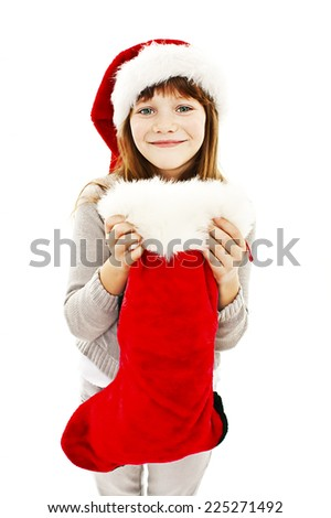 Beautiful little girl with Christmas gift. Isolated on white background - stock photo