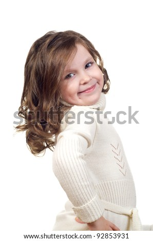 Beautiful little girl with curly hair. Isolated on white background. - stock photo