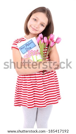 Beautiful little girl with flowers and postcard in her hand, isolated on white